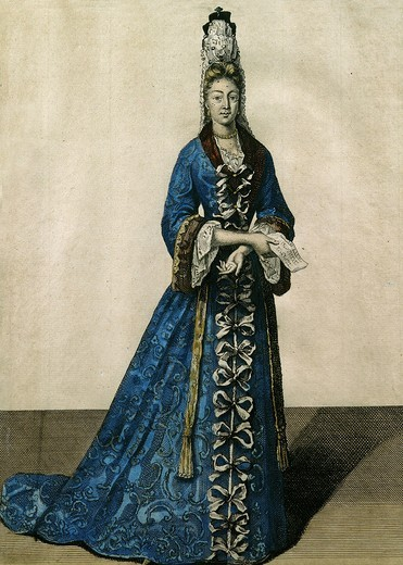Stock Photo: 4069-2404 Madame Francoise d'Aubigne Marquise de MAINTENON, 1635-1719 2nd wife of King Louis XIV of France, in dressing gown, 17th century engraving