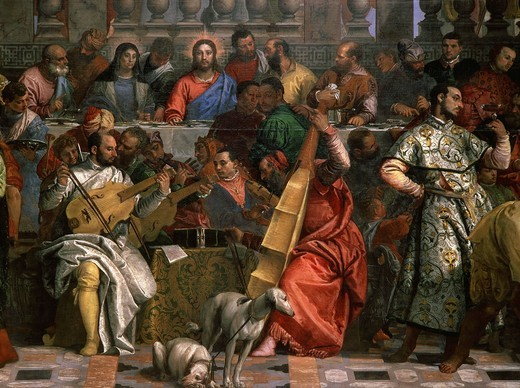 Stock Photo: 4069-2480 Musicians, from The Wedding at Cana, painted 1562-63 (portraits include Titian, himself, his brother Benedetto, Tintoretto, Jacopo Bassano and Palladio) (detail)