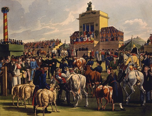 Agricultural show in Cannstadt, Wurttemberg, Germany, 19th century engraving : Stock Photo