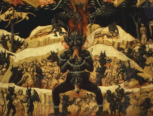 Hell, from Heaven and Hell, 15th century Bolognese School, from Church of St Petronius, Bologna, Italy (detail) : Stock Photo