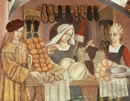 Stock Photo: 4069-2514 Fruit seller, late 15th century Italian Gothic fresco