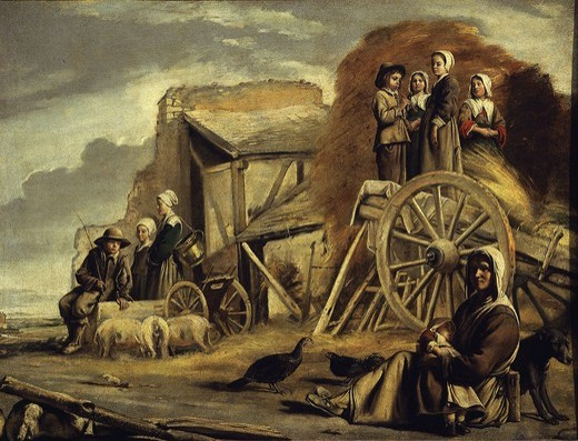 Stock Photo: 4069-2540 La charette (the cart) or Le retour de la fenaison (return from haymaking), 1641