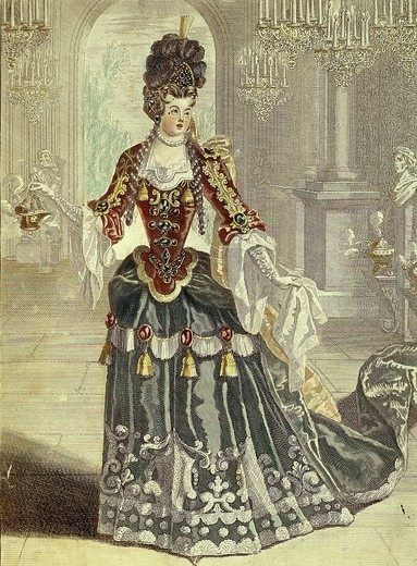 Stock Photo: 4069-2559 Marie-Louise DESMATINS, 1670-1708 French soprano opera singer, at the OpÄra, 17th century French engraving by Berey