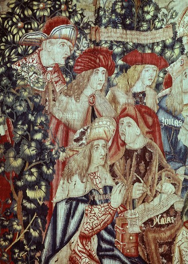 Parable of vineyard workers detail of group of prophets including David Jeremias and Jonas from Flemish tapestry 16th century : Stock Photo
