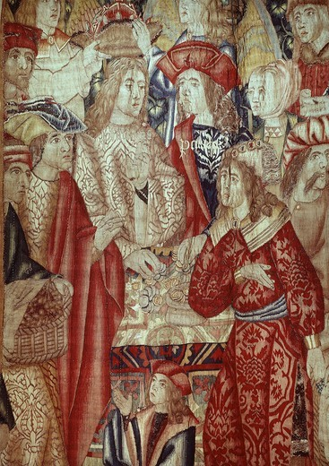 Stock Photo: 4069-2656 Parable of vineyard workers detail of paying wages of workers from Flemish tapestry 16th century
