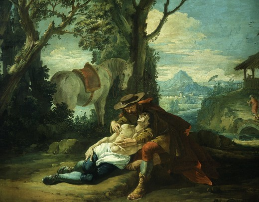 Stock Photo: 4069-2665 The Good Samaritan - samaritan helping wounded robbed man