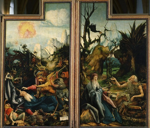 Stock Photo: 4069-2666 Isenheim altarpiece c.1515 Temptation of Saint Anthony and conversation of Saints Anthony and Paul Hermit
