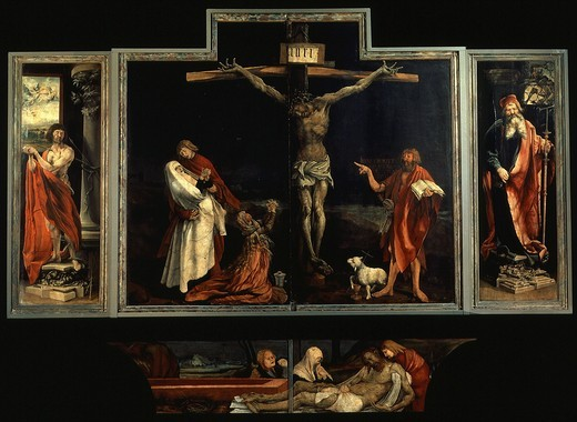 Stock Photo: 4069-2667 Isenheim altarpiece c.1515 triptych with the Crufixion. The central panel includes John the Baptist (on the right) and Mary Magdalene with the Virgin supported by Saint John the Evangelist on the left, below is the Entombment. The left panel is Saint Sebastian, the right panel is Saint Anthony.