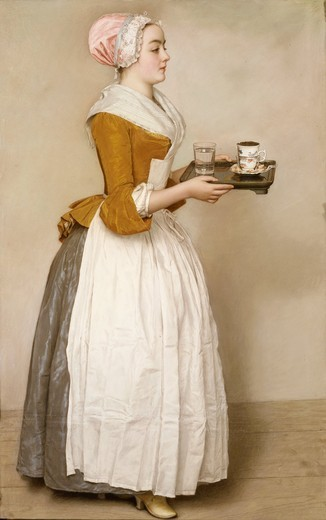Stock Photo: 4069-2672 Das Schokoladenmadchen, or Girl With Hot Chocolate, pastel drawing, Venice, c. 1744. Already famous in the 18th century, this drawing was much admired for its scrupulous realism. According to traditional accounts, the servantgirl's name is Baldauf, meaning Prompt
