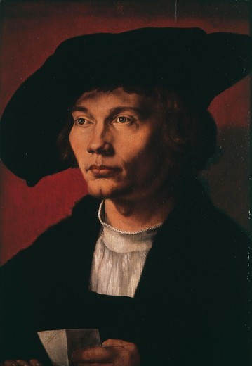 Stock Photo: 4069-2711 Bernhard von REESEN, 1491-1521, Danzig merchant, Antwerp, 1521. Durer records in his diary that in March 1521, he \'made a portrait of Bernhart von Resten in oils\', and was paid 8 florins. His young sitter died 7 months later of the plague