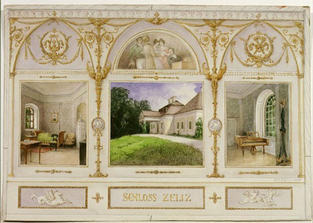 Zeliz castle, winter residence of Prince Nicholas ESTERHAZY, where Franz Peter SCHUBERT, 1797-1828 Austrian composer, lived as Master of Music in 1818 watercolour : Stock Photo
