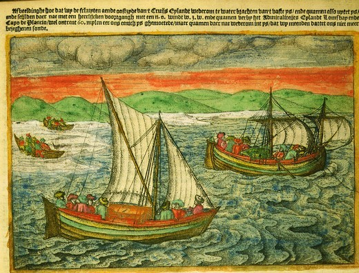Willem Barents, 1550-97, Dutch navigator, narrative of last voyage, by Gerrit de Veer, 1598. Shows Barents' marooned sailors finally leaving land in 2 open boats. Barents died on board : Stock Photo