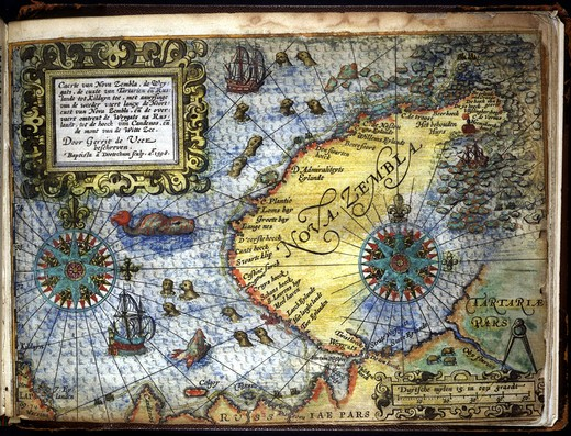 Map of Nova Zembla, narrative of last voyage of Willem Barents, 1550-97, Dutch navigator, by Gerrit de Veer, 1598 : Stock Photo