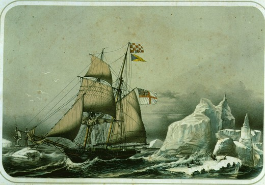 Schooner caught in the ice in Antarctic lithograph by LeBreton 19th century : Stock Photo