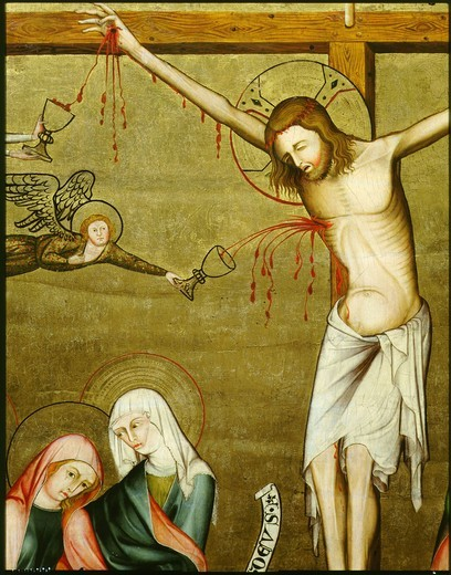 The Crucifixion, detail of angel collecting the blood of Christ, 1320 : Stock Photo