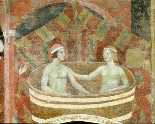 The marital bath, fresco, 1303 : Stock Photo
