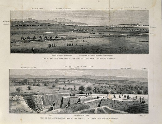 Stock Photo: 4069-322 View of northern and southeastern plain of Troy from hills of Hissarlik with camel train, engraving from Troy And Its Remains, 1875, by Heinrich Schliemann, 1822-90, controversial German archaeologist who excavated the site of ancient Troy