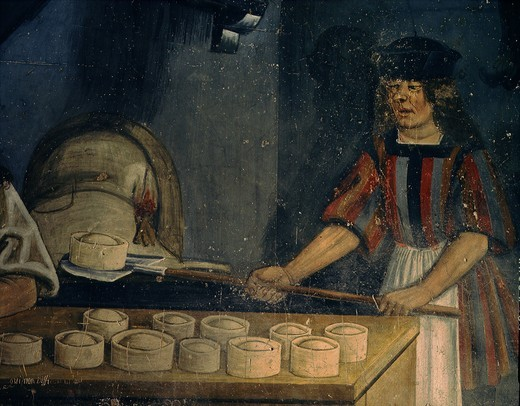 Stock Photo: 4069-3395 The oven for baking pies and bread, detail, from frescoed lunette, late 15th century