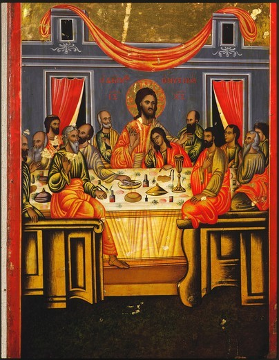 Stock Photo: 4069-3396 The Last Supper, late 17th century icon