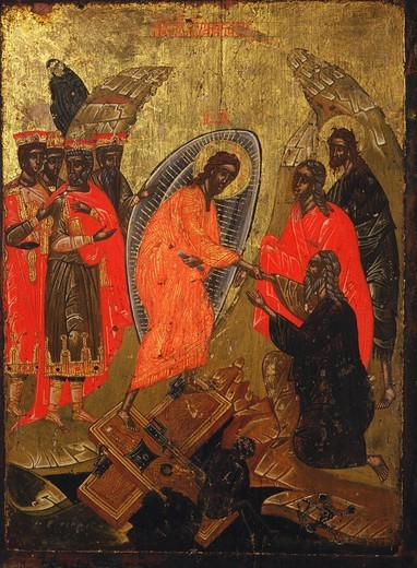 Stock Photo: 4069-3399 Christ's Descent into Hell (anastasis) 18th century icon