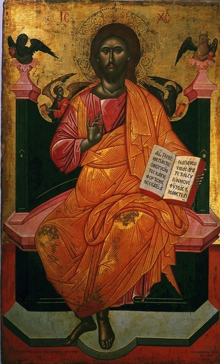 Christ enthroned and pointing to the word. He is surrounded by symbols of the four Evangelists, Greek icon 17th century : Stock Photo
