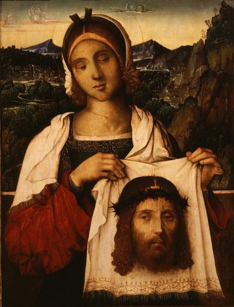Saint VERONICA with veil of Jesus Christ : Stock Photo