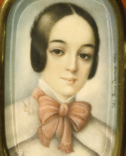 Stock Photo: 4069-3491 Maria WODZINSKA, (1819-1896), pupil and fiancee of Frederick Chopin (they were never married), 19th century miniature