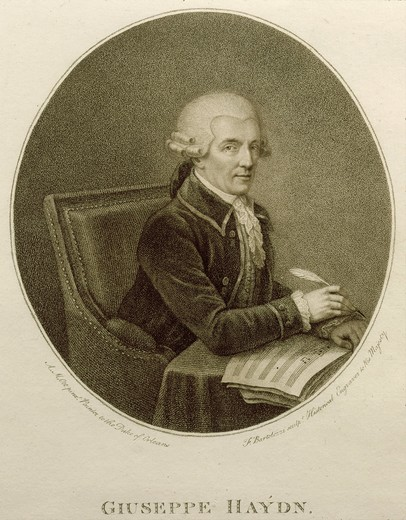 Oval portrait of Franz Josef HAYDN, 1732-1809 Austrian composer, 19th century engraving : Stock Photo