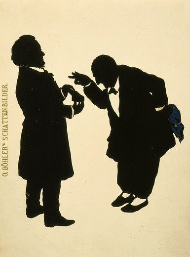 Silhouette of meeting between Anton BRUCKNER, 1824-96 Austrian composer, and Richard Wagner, 1813-83 German composer : Stock Photo