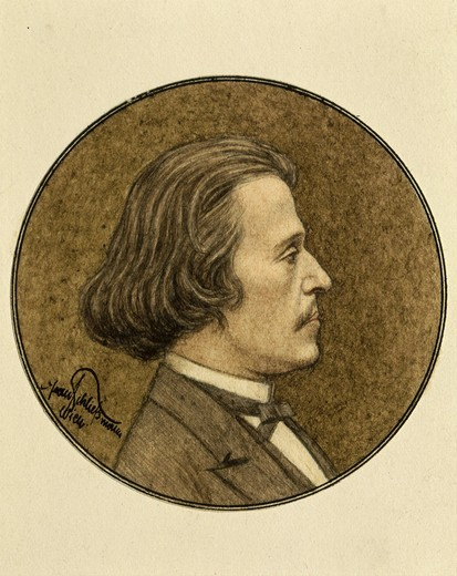 Stock Photo: 4069-3649 Circular portrait of Josef STRAUSS, 1825-99 Austrian composer, brother of Johann II