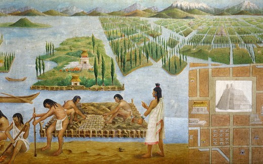 Stock Photo: 4069-3730 Aztec building and the Chinampas system