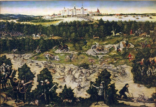 Hunt in honour of Ferdinand I at Torgau Castle, 1545. Ferdinand I was the brother of Emperor Charles V : Stock Photo