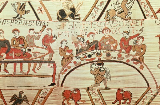 Banquet hosted by the Bishop of Normandy, France, from the Bayeux Tapestry, 11th century : Stock Photo