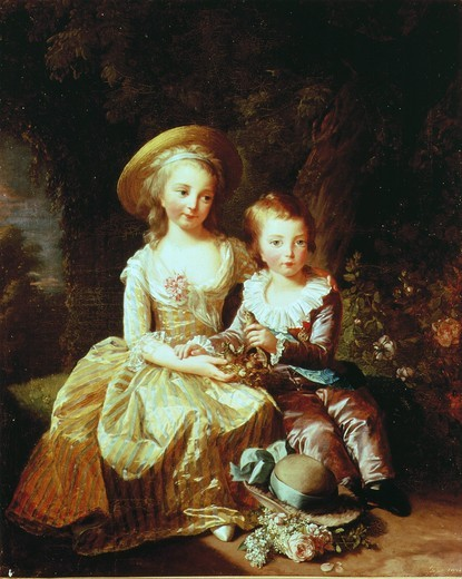 Dauphin LOUIS Joseph Xavier Franois of France 1781-89, and Marie-Th?rse-Charlotte of France, Duchess of Angouleme (Madame Royale) 1778-1851, children of Marie Antoinette 1755-93, Queen of France (MV 3907) : Stock Photo