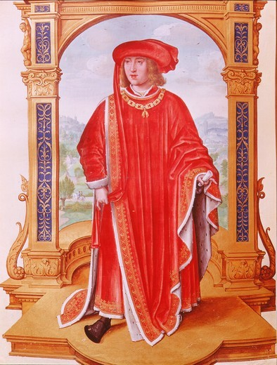 PHILIP I, 1478-1506 King of Spain, called Philip the Handsome, from illuminated manuscript of the Statutes of the Golden Fleece, 16th century : Stock Photo