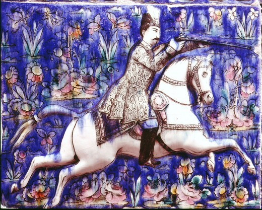 Nasser-ed-Din, 1848-96 Shah of Iran hunting, mid 19th century ceramic from Isfahan, Iran : Stock Photo