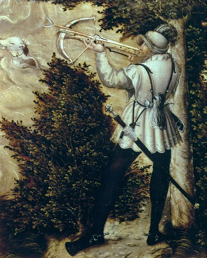 Huntsman with crossbow, from Hunting Party in Honour of CHARLES V at Torgau Castle, 1544 (detail) : Stock Photo