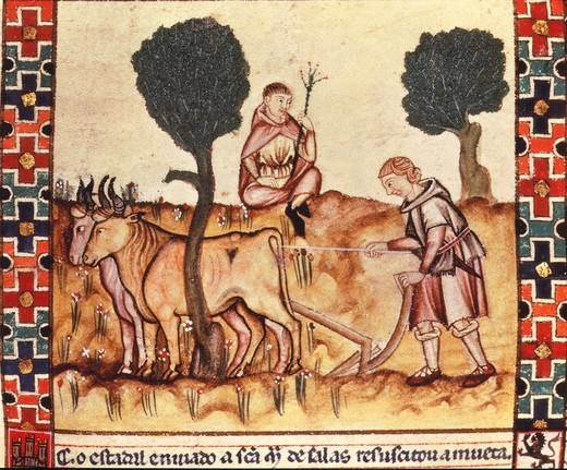 Stock Photo: 4069-3863 Labourer teaching his son ploughing, folio 237R of Canticles of Saint Mary, 13th century manuscript by Alfonso X the Wise, 1221-84 King of Castile and Leon