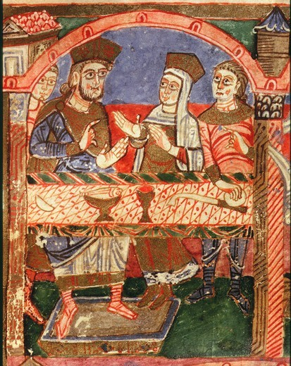 Stock Photo: 4069-3864 RADEGUND seated at Clothair's table, folio 24R of Life of Saint Radegund, 518-87 wife of Clothair (Chlotar), ?500-61 Merovingian Frankish king, 10th - 11th century manuscript