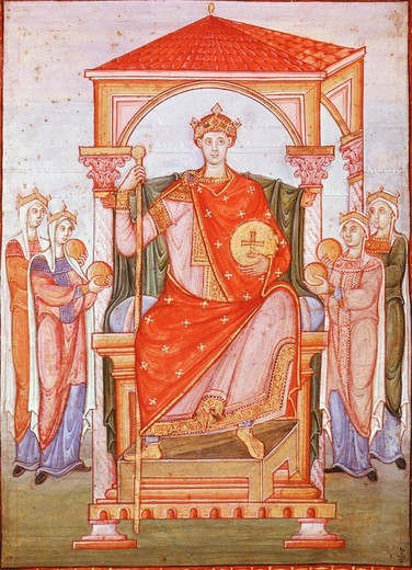 Stock Photo: 4069-3965 Holy Roman Emperor OTTO II 955-83 (ruled King of Germany, from 961, and Emperor from 967), receiving the homage of nations, from Gospels of Emperor Otto, 11th century German manuscript