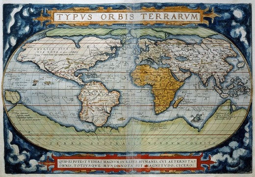 Stock Photo: 4069-410 World from Atlas by Abraham Ortelius Theatrum Orbis Terrarum 1570