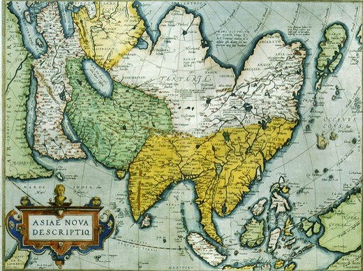 Asia from Red Sea to Japan from Atlas by Abraham Ortelius Theatrum Orbis Terrarum 1570 : Stock Photo