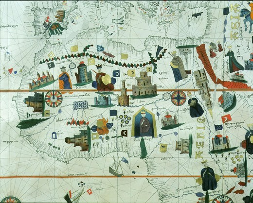 Stock Photo: 4069-414 The Mediterranean and North Africa from world Map by Juan de la Cosa 1500 who was with Columbus in 1492