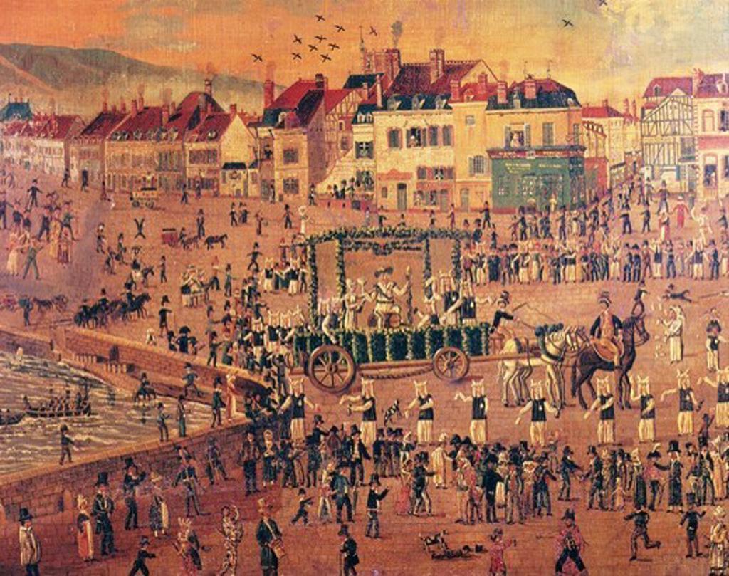 Wine festival, Joigny, France, early 19th century : Stock Photo