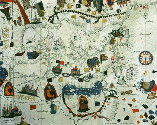 Europe from world Map by Juan de la Cosa 1500 who was with Columbus in 1492 : Stock Photo