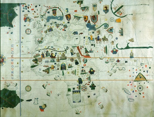 Stock Photo: 4069-417 Europe Asia and Africa from world Map by Juan de la Cosa 1500 who was with Columbus in 1492