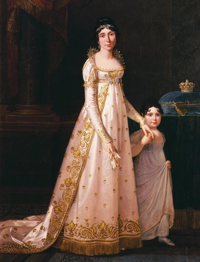 Stock Photo: 4069-4172 Marie-Julie CLARY, 1777-1845 Queen of Naples then of Spain (wife of Joseph Bonaparte, brother of Napoleon) and her daughter Z?naide, 1801-54 future princess of Canino, in 1807 (MV 4714)