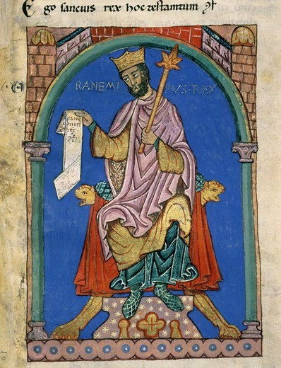 Stock Photo: 4069-4188 RAMIRO II, d.951 King of Leon and Asturias, Spain, Index of Royal Privileges, 12th-13th century manuscript