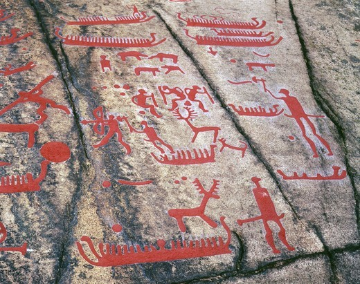 Stock Photo: 4069-4226 Ships and deer hunt, rock carving, Bronze Age, Fossum, Tanum, Bohuslan, Sweden