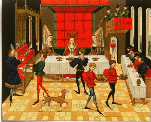 Stock Photo: 4069-425 Servants at dinner of chatelaine, or lady of manor with trumpeters in gallery, from Roman of Reynaud de Montauban, 15th century, French